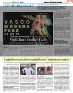 il Resto del Carlino Imola - l'azienda imolese Andros specialista nell'isolamento acustico